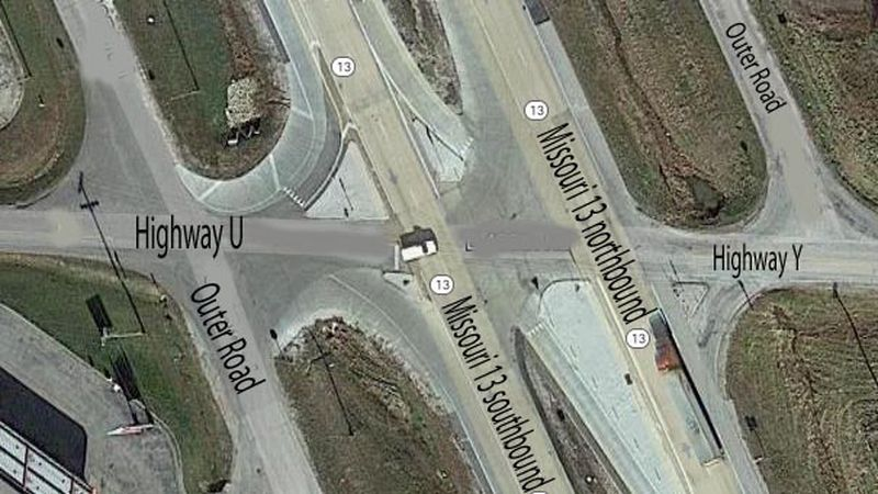 Missouri 13 intersection with Highways U/Y in south Bolivar (Google Maps image)