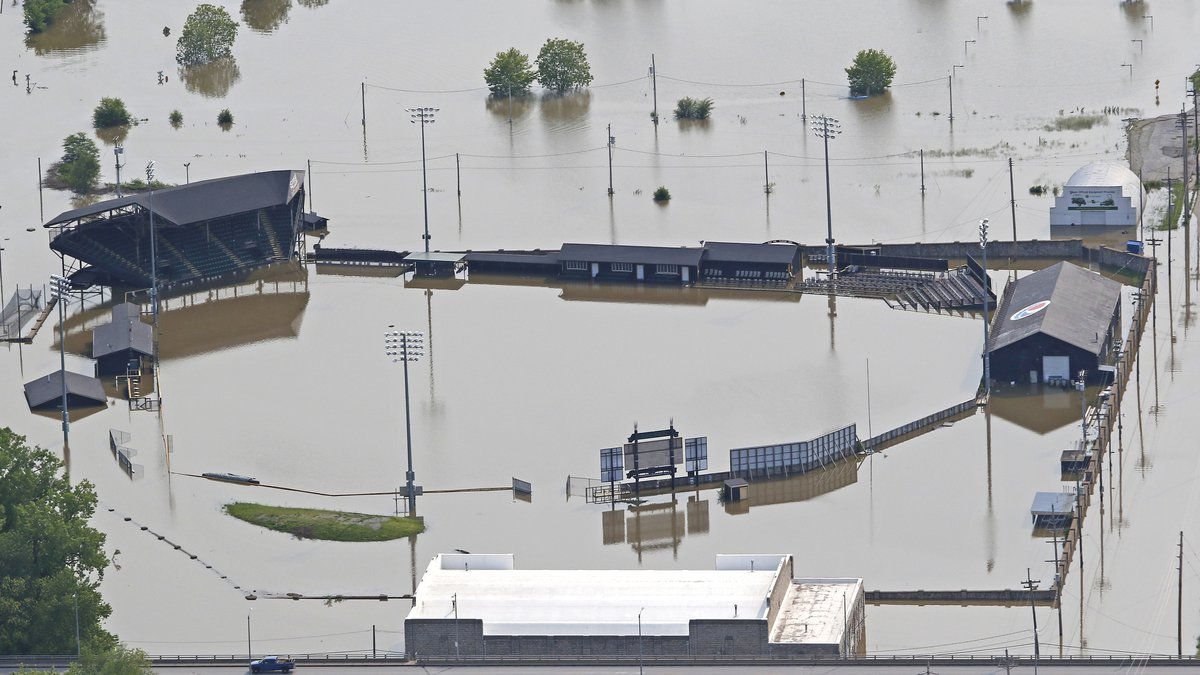 This aerial photo shows Clemens Field in Hannibal, Mo., Friday, May  31, 2019. About 200...