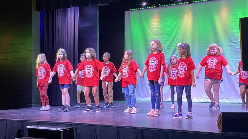 July 15, 2021--Young performers take the stage in the Springfield Little Theater's production...