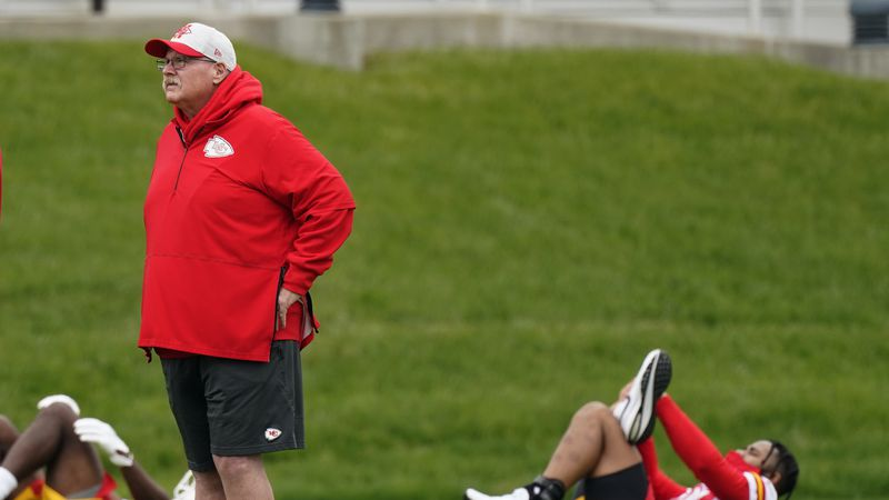 Kansas City Chiefs head coach Andy Reid watches an NFL football rookie minicamp Saturday, May...