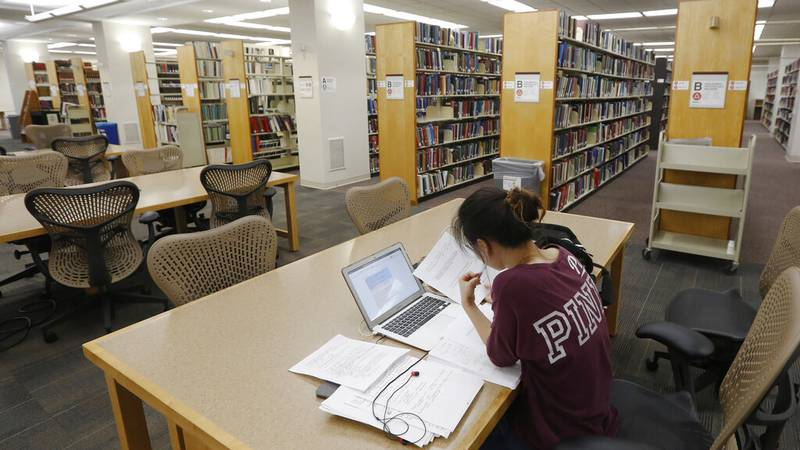 FILE - In this June 20, 2019, file photo, a student works in the library at Virginia...