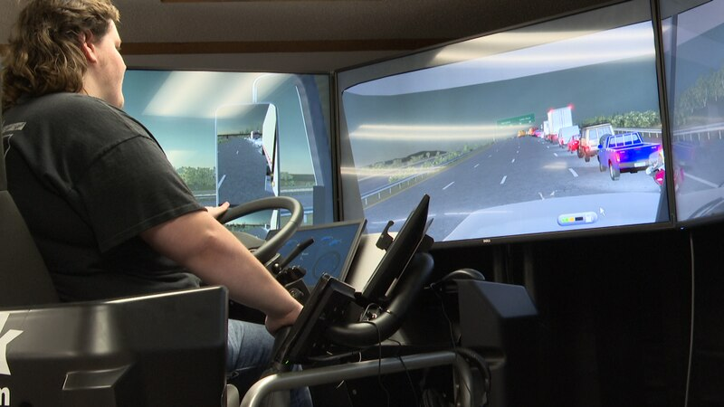 This simulator helps train students seeking their commercial drivers license.