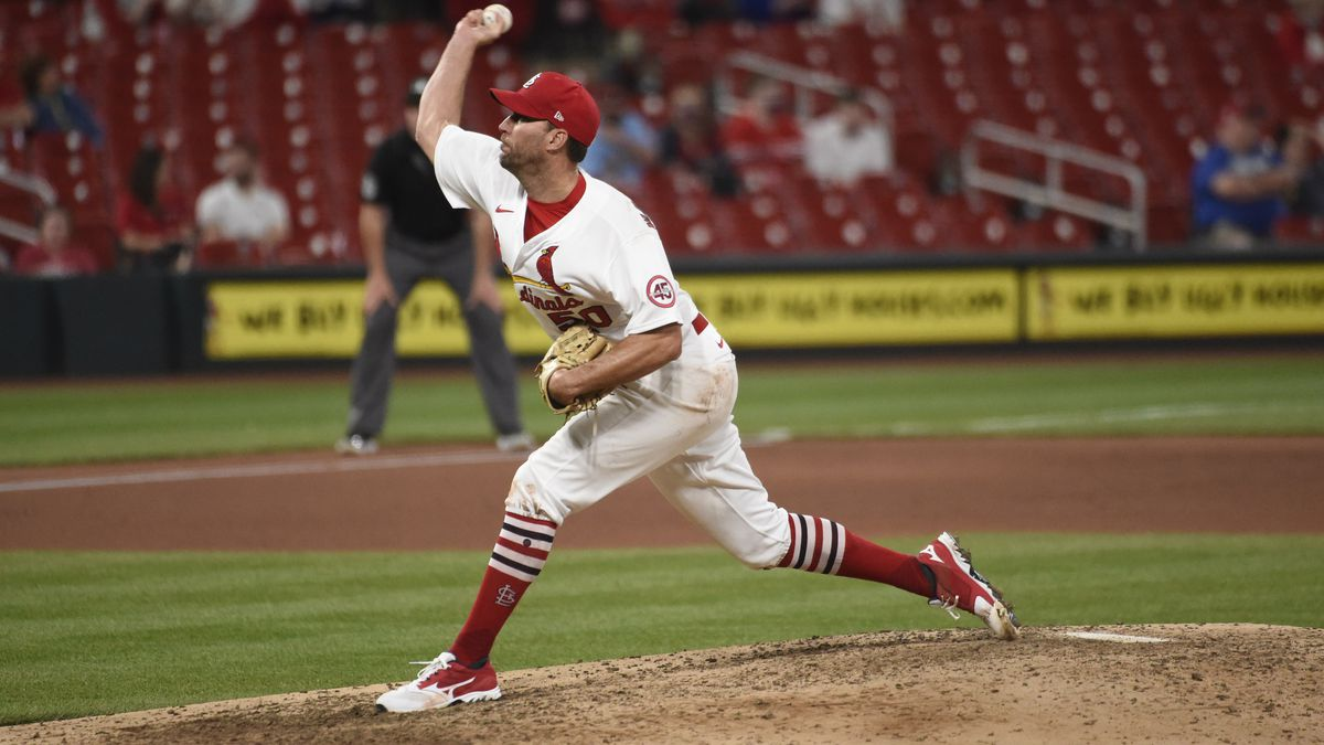 St. Louis Cardinals starting pitcher Adam Wainwright throws during the ninth inning of a...