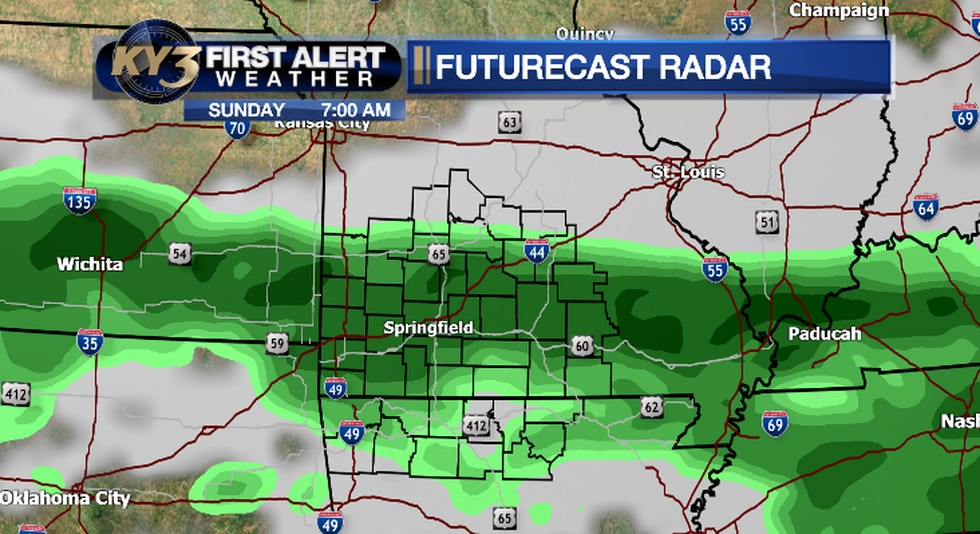 Rain and storms will move across the Ozarks Sunday