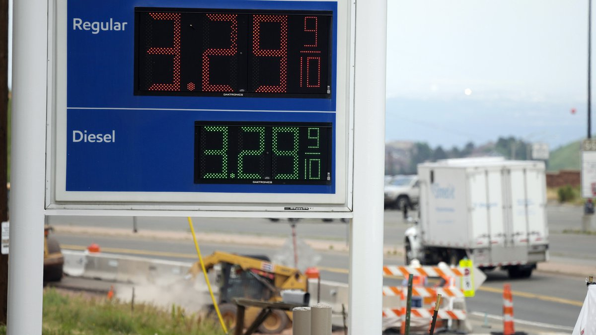 FILE - In this Thursday, July 1, 2021 file photo, the gasoline prices are displayed on a sign...