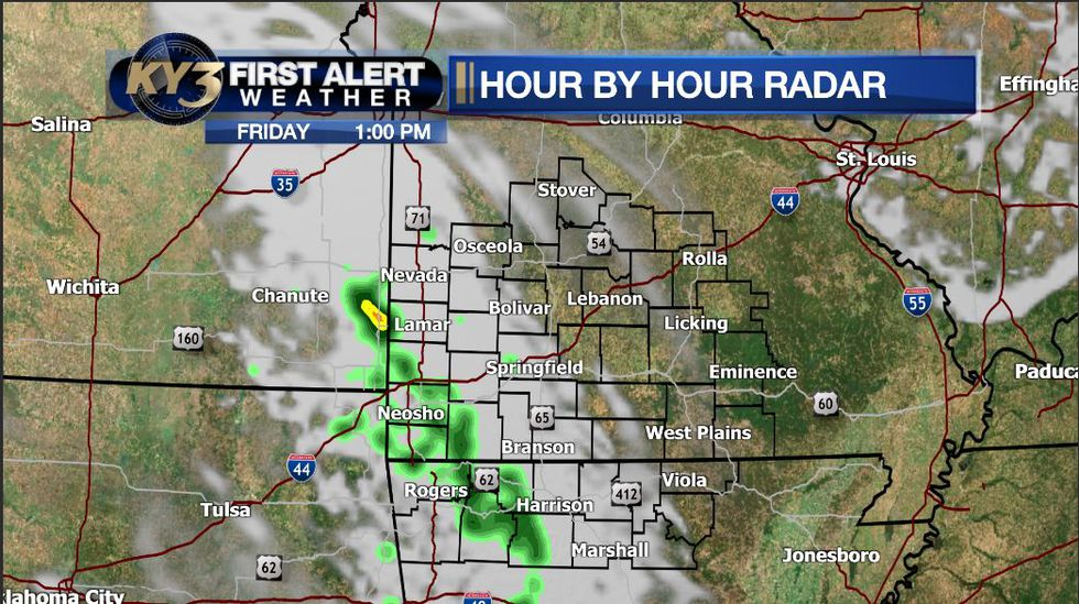 Showers may occur over the western Ozarks on Friday afternoon.
