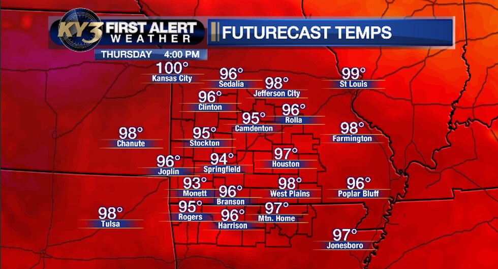 Here are the projected high temperatures for Thursday.