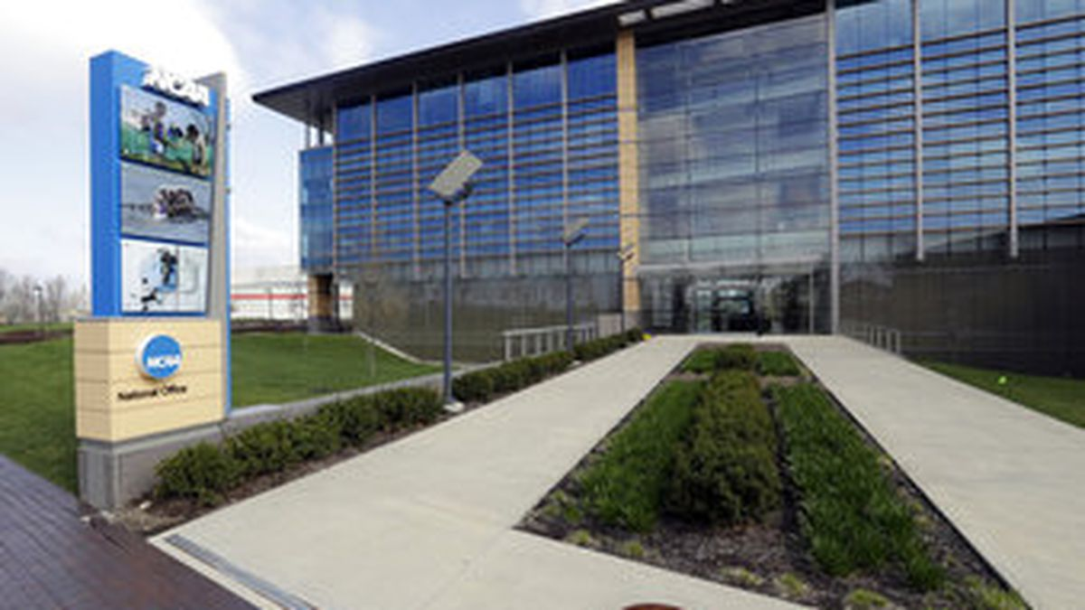 FILE - This is an April 25, 2018, file photo showing NCAA headquarters in Indianapolis. The NCAA wants a level playing field for all athletes, even if state law proposals threaten its longtime model for amateur sports.<br />With the California assembly considering a potentially landmark measure that would allow athletes at state colleges and universities to profit from the use of their names, likenesses and images, an NCAA working group is trying to figure out how to respond. (AP Photo/Darron Cummings, File)