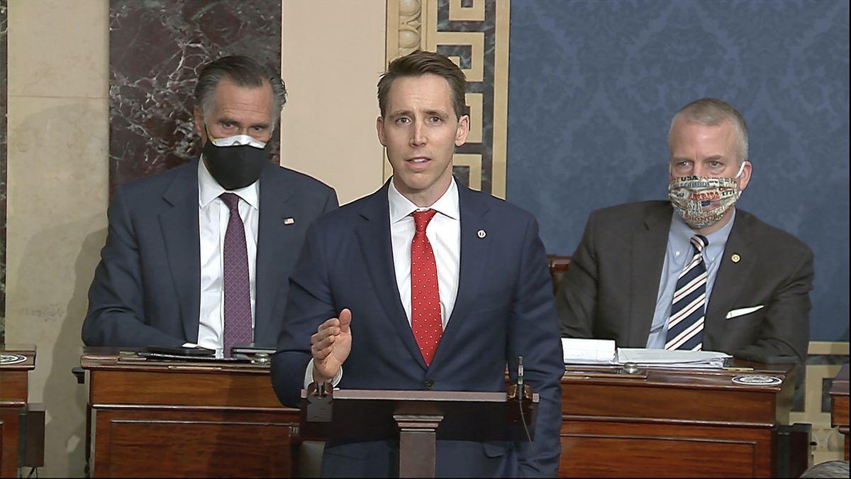 In this image from video, Sen. Josh Hawley, R-Mo., speaks as the Senate reconvenes to debate...