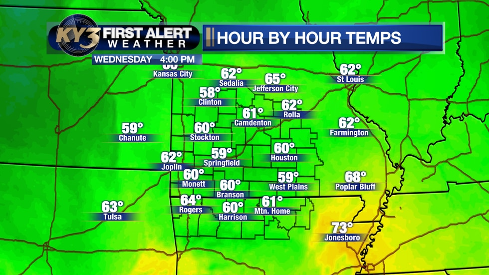 Clouds will keep temperatures around 60° today.