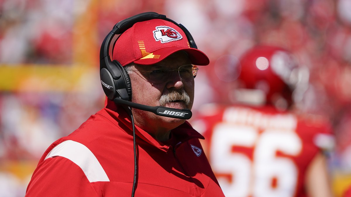 Kansas City Chiefs head coach Andy Reid watches during the first half of an NFL football game...