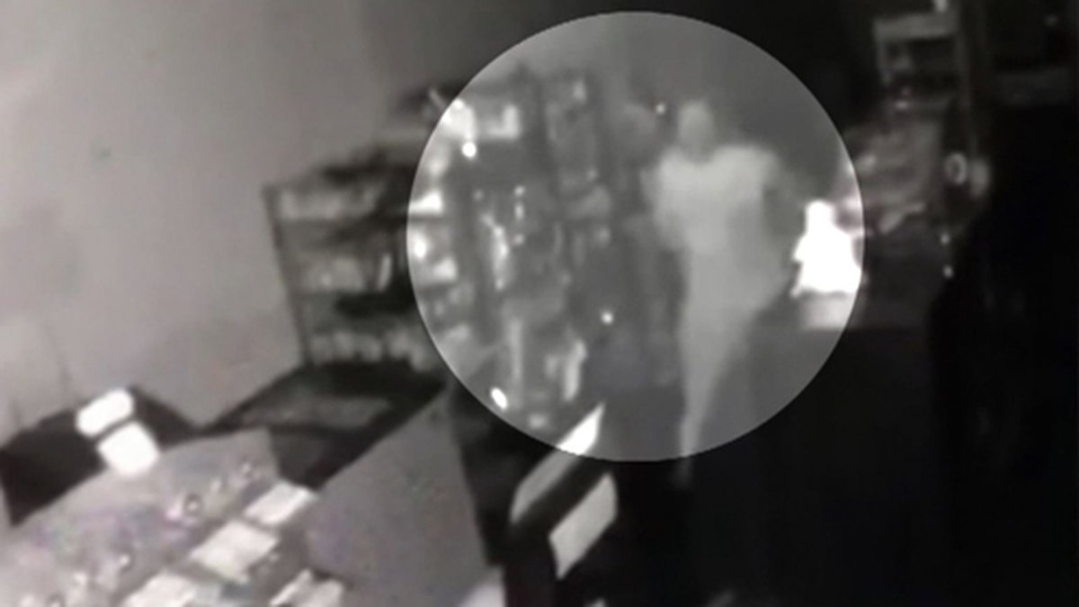 Police say surveillance video shows a thief breaking through a wall to rob a deli in New...