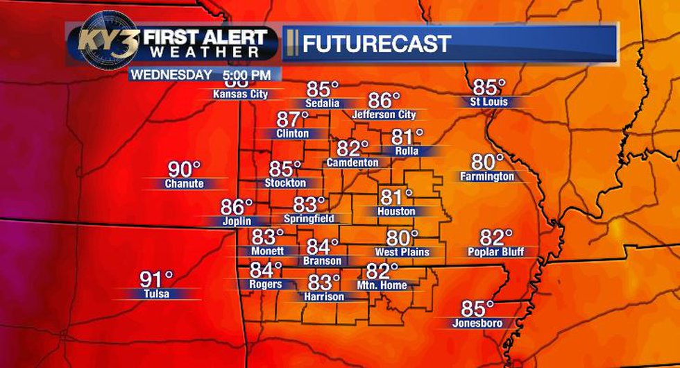 Temps in the 80s today