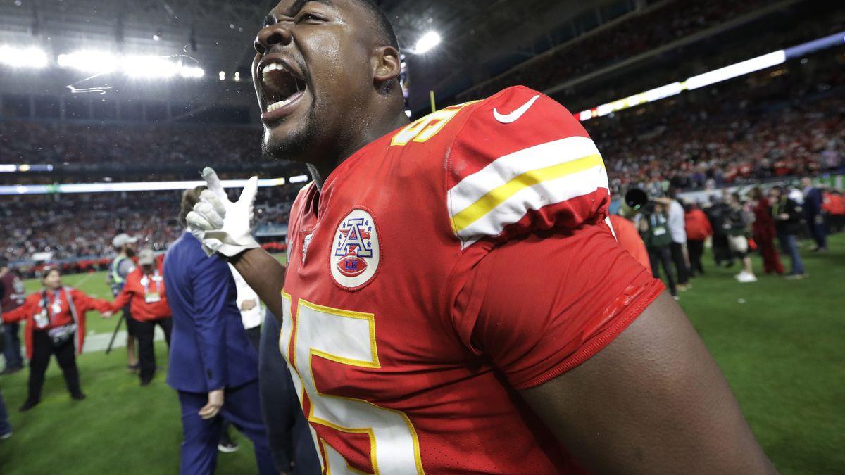 Kansas City Chiefs' Chris Jones (95) celebrates during the second half of the NFL Super Bowl 54 football game against the San Francisco 49ers Sunday, Feb. 2, 2020, in Miami Gardens, Fla. The Kansas City Chiefs won 31-20. (AP Photo/Mark Humphrey)
