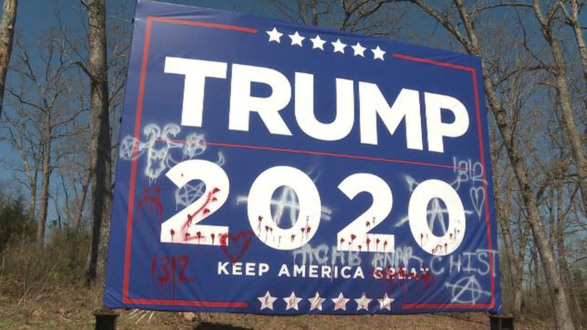 A 'Trump 2020' campaign sign along Highway 54 in Osage Beach sits vandalized on March 31, 2020.