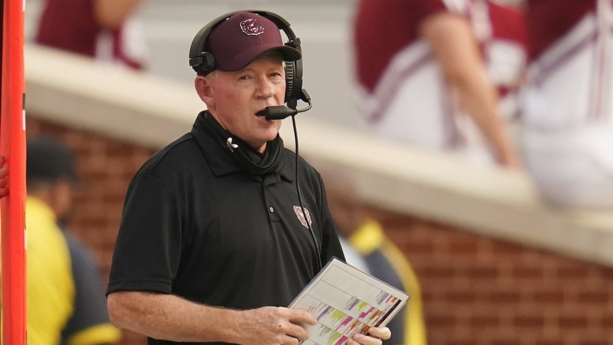 Missouri State head coach Bobby Petrino walks on the sidelines in the first half of an NCAA...