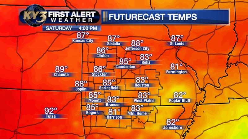 Forecast high temperatures for Saturday