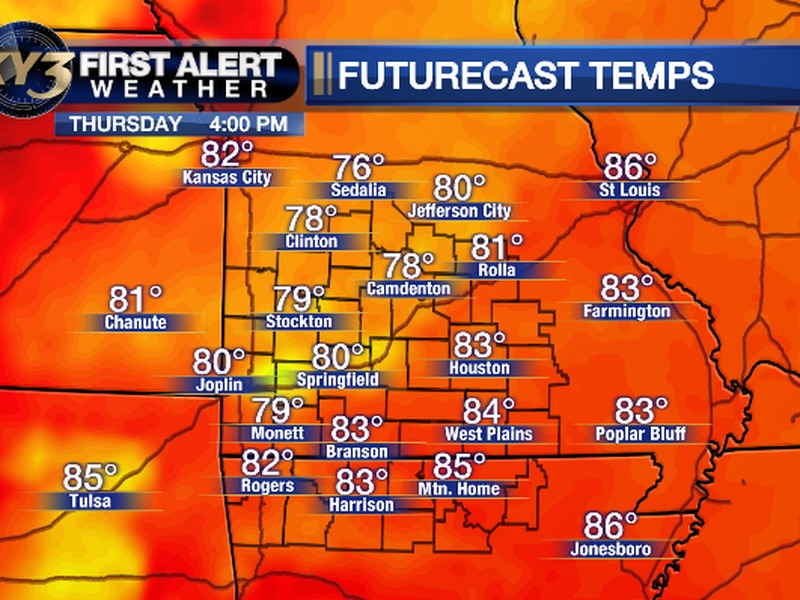 Here are the forecast highs for Thursday