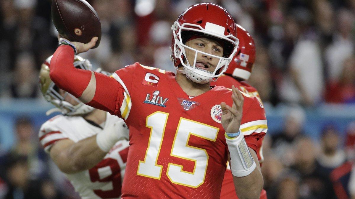 FILE - In this Feb. 2, 2020, file photo, Kansas City Chiefs quarterback Patrick Mahomes (15)...