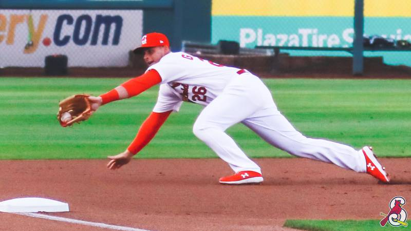 Nolan Gorman made a diving play at third base to rob a potential run in the first inning.