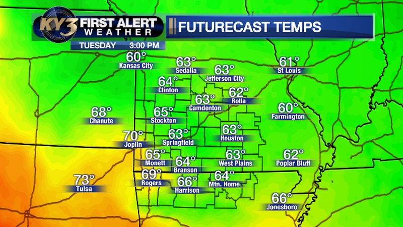 Here are the forecast high temperatures Tuesday