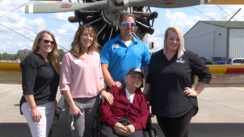 Dream Flights awarded a World War II veteran a free flight in honor of him turning...