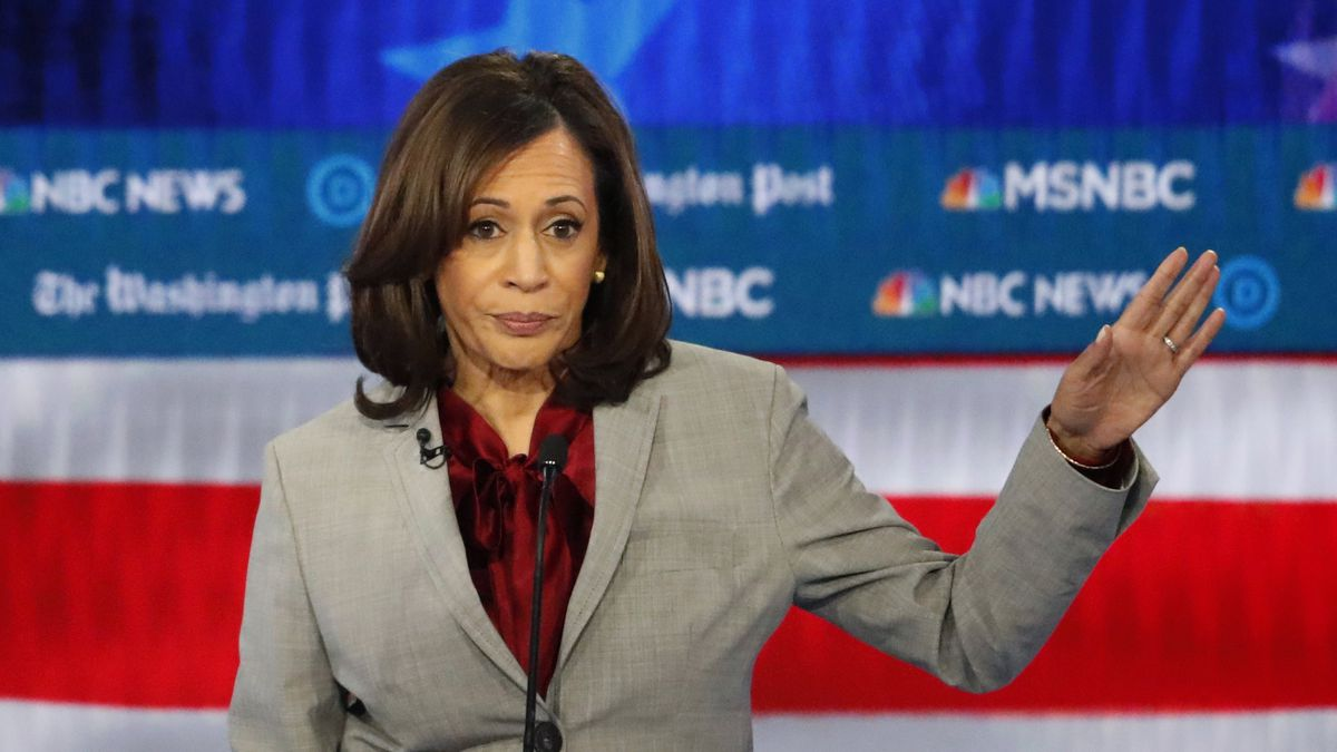 FILE - In this Nov. 20, 2019 file photo, Democratic presidential candidate Sen. Kamala Harris, D-Calif., speaks during a Democratic presidential primary debate in Atlanta. (AP Photo/John Bazemore)