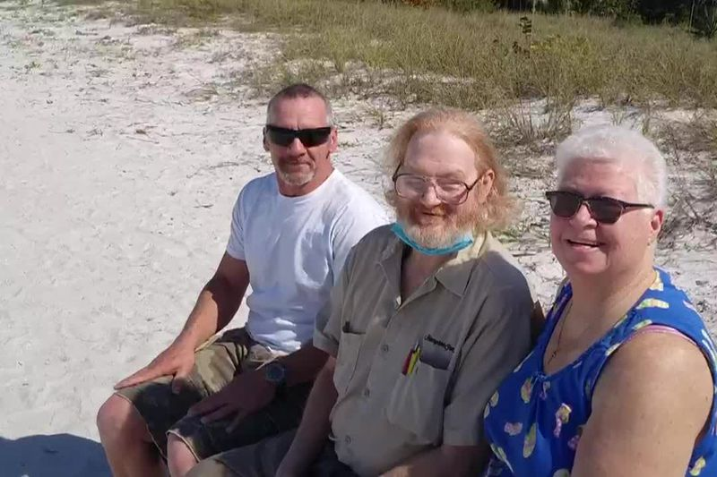 Sandi Schmitt and her son visit with her brother Bill she hasn't seen in more than 40 years.