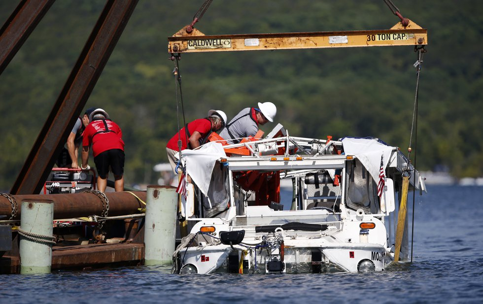 FILE - In this July 23, 2018 file photo, the duck boat that sank in Table Rock Lake in...