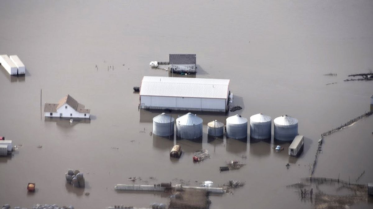 FILE - This March 18, 2019, file photo, taken by the South Dakota Civil Air Patrol and provided by the Iowa Department of Homeland Security and Emergency Management shows flooding along the Missouri River in rural Iowa north of Omaha, Neb. The National Weather Service said Thursday, Feb. 13, 2020, there is an elevated flood risk along the eastern Missouri River basin this spring because the soil remains wet and significant snow is on the ground in North Dakota and South Dakota. (Iowa Homeland Security and Emergency Management via AP, File)