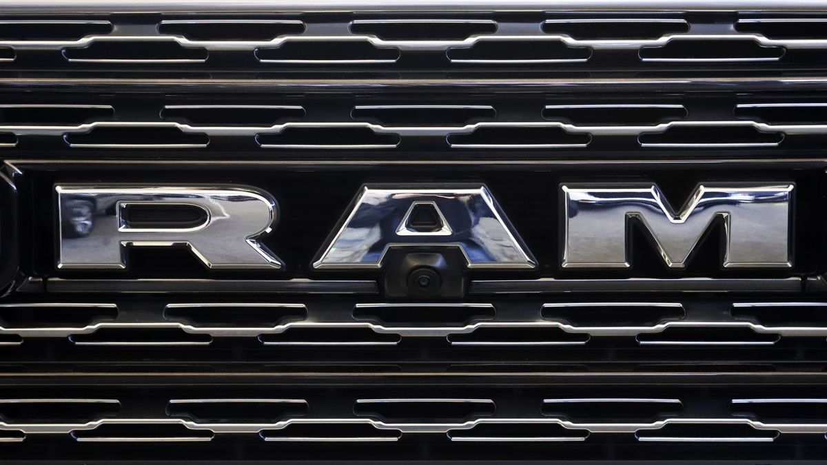 This Feb. 14, 2019, file photo shows the Ram logo on the front grill of a Ram 1500 at the 2019 Pittsburgh International Auto Show in Pittsburgh. Fiat Chrysler is recalling nearly 132,000 vehicles worldwide to fix a problem that could cause some diesel engines to stall.